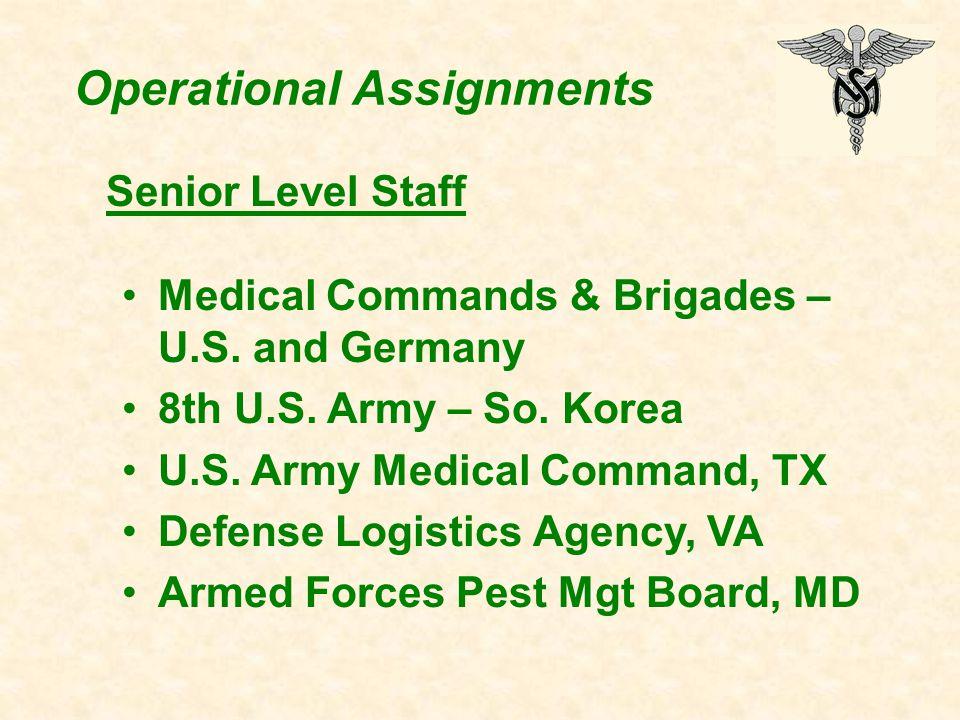 Operational Assignments Medical Commands & Brigades – U.S. and Germany 8th U.S. Army – So. Korea U.S. Army Medical Command, TX Defense Logistics Agenc