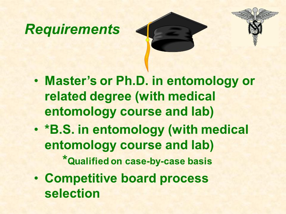 Requirements Master's or Ph.D.