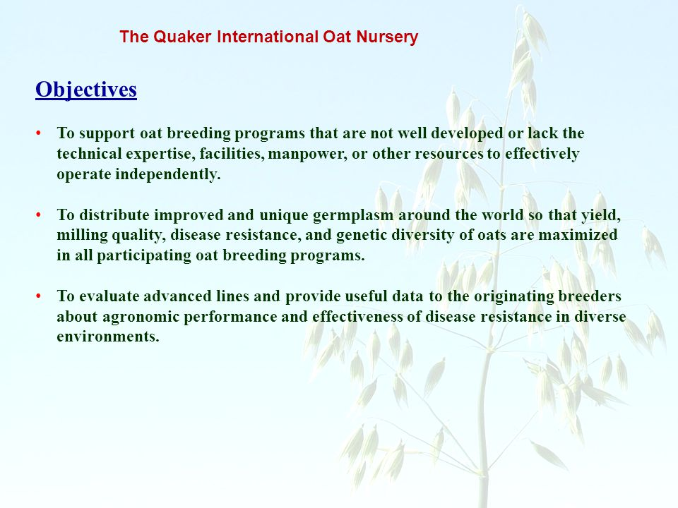 The Quaker International Oat Nursery Objectives To support oat breeding programs that are not well developed or lack the technical expertise, faciliti