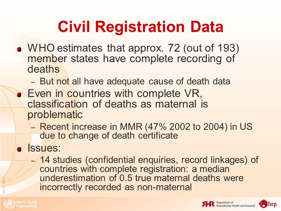 08_XXX_MM18 Civil Registration Data WHO estimates that approx.