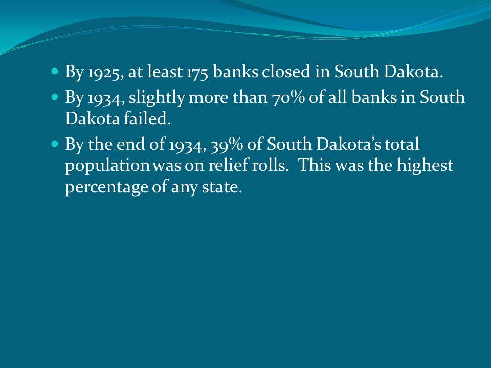 By 1925, at least 175 banks closed in South Dakota.