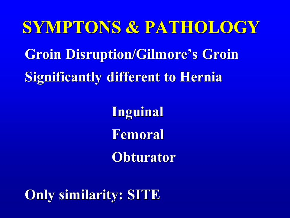 Groin Disruption/Gilmore's Groin Significantly different to Hernia Inguinal InguinalFemoralObturator Only similarity: SITE SYMPTONS & PATHOLOGY