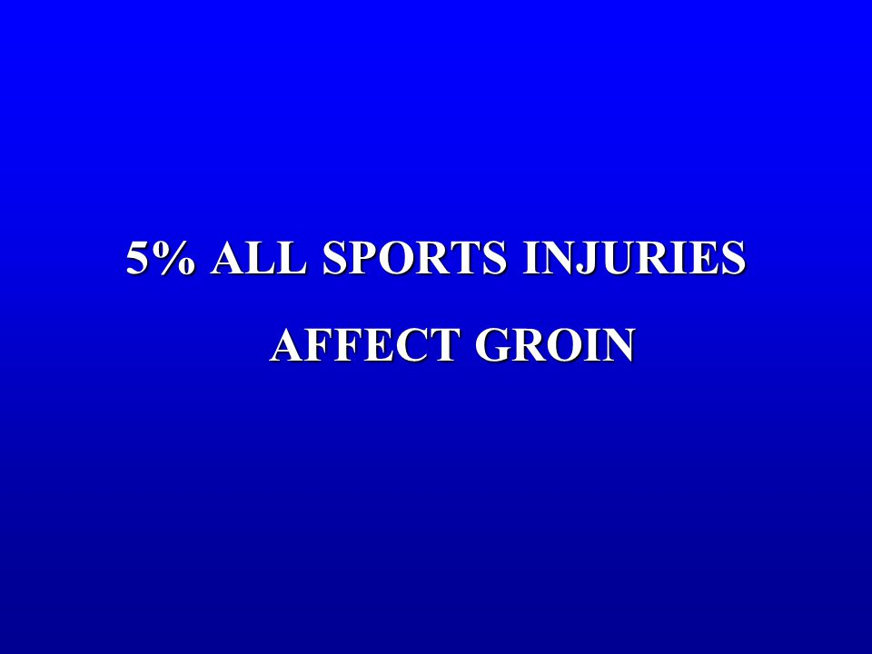 5% ALL SPORTS INJURIES AFFECT GROIN