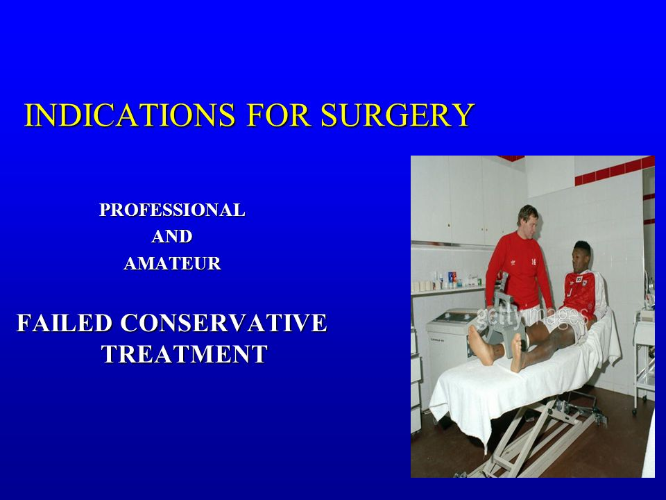 INDICATIONS FOR SURGERY PROFESSIONALANDAMATEUR FAILED CONSERVATIVE TREATMENT