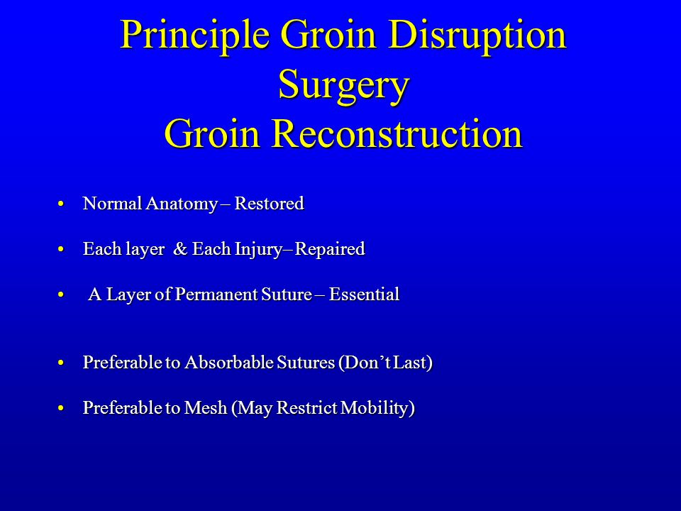 Principle Groin Disruption Surgery Groin Reconstruction Normal Anatomy – RestoredNormal Anatomy – Restored Each layer & Each Injury– RepairedEach layer & Each Injury– Repaired A Layer of Permanent Suture – Essential A Layer of Permanent Suture – Essential Preferable to Absorbable Sutures (Don't Last)Preferable to Absorbable Sutures (Don't Last) Preferable to Mesh (May Restrict Mobility)Preferable to Mesh (May Restrict Mobility)
