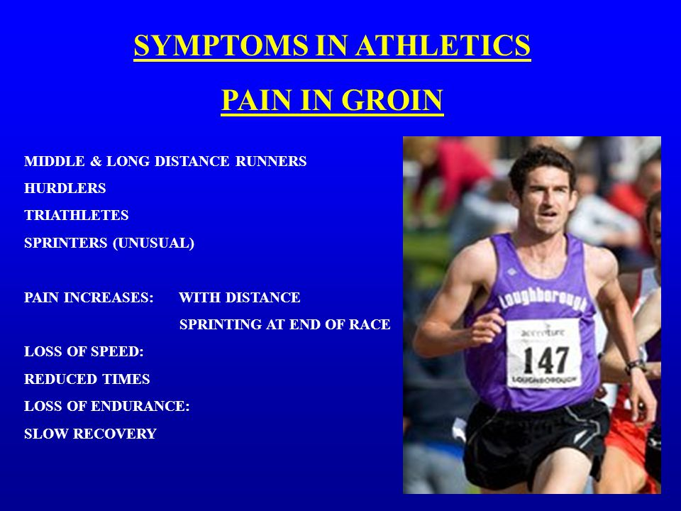 SYMPTOMS IN ATHLETICS PAIN IN GROIN MIDDLE & LONG DISTANCE RUNNERS HURDLERS TRIATHLETES SPRINTERS (UNUSUAL) PAIN INCREASES: WITH DISTANCE SPRINTING AT END OF RACE LOSS OF SPEED: REDUCED TIMES LOSS OF ENDURANCE: SLOW RECOVERY