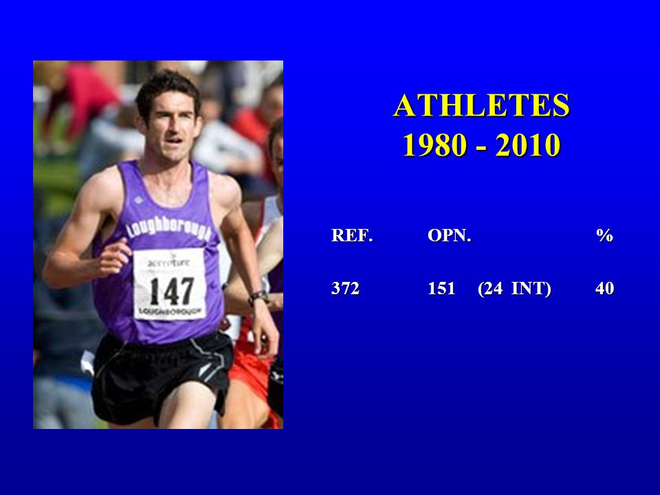 ATHLETES 1980 - 2010 REF. OPN.% 372 151 (24 INT)40