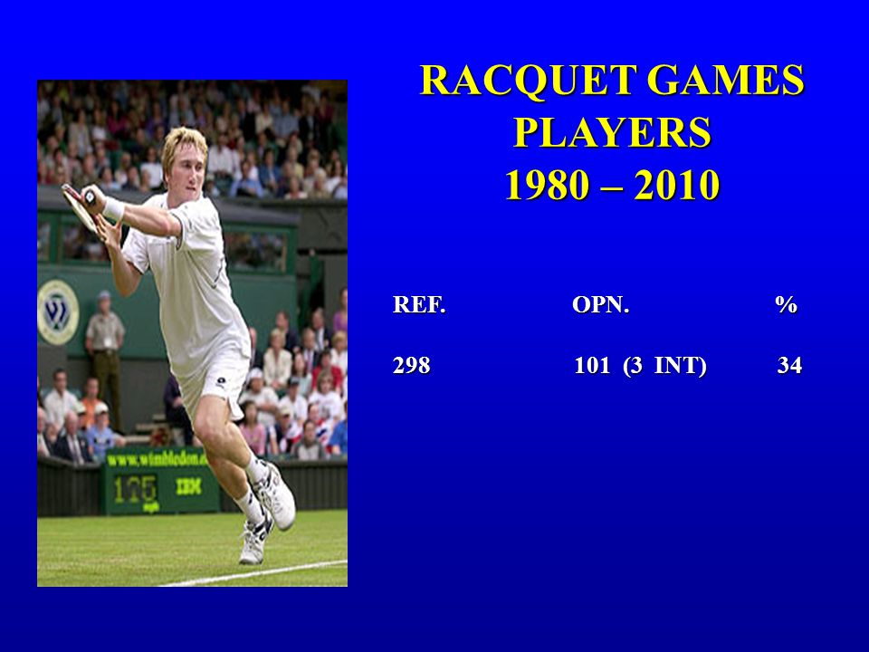 RACQUET GAMES PLAYERS 1980 – 2010 1980 – 2010 REF. OPN. % 298 101 (3 INT) 34