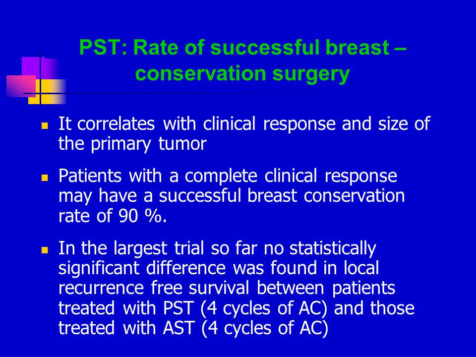 PST: Rate of successful breast – conservation surgery It correlates with clinical response and size of the primary tumor Patients with a complete clinical response may have a successful breast conservation rate of 90 %.