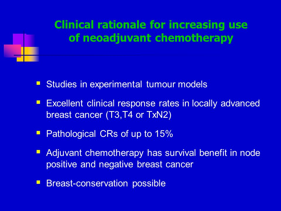 Clinical rationale for increasing use of neoadjuvant chemotherapy  Studies in experimental tumour models  Excellent clinical response rates in locally advanced breast cancer (T3,T4 or TxN2)  Pathological CRs of up to 15%  Adjuvant chemotherapy has survival benefit in node positive and negative breast cancer  Breast-conservation possible
