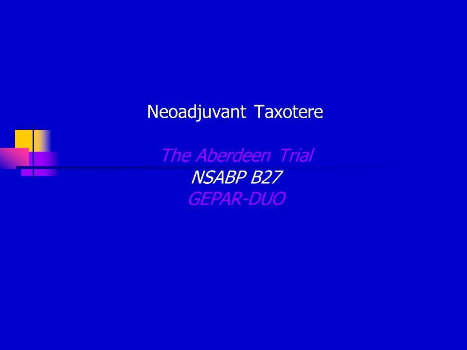 Neoadjuvant Taxotere The Aberdeen Trial NSABP B27 GEPAR-DUO