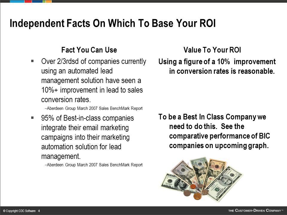 © Copyright CDC Software 4 Independent Facts On Which To Base Your ROI Fact You Can Use  Over 2/3rdsd of companies currently using an automated lead
