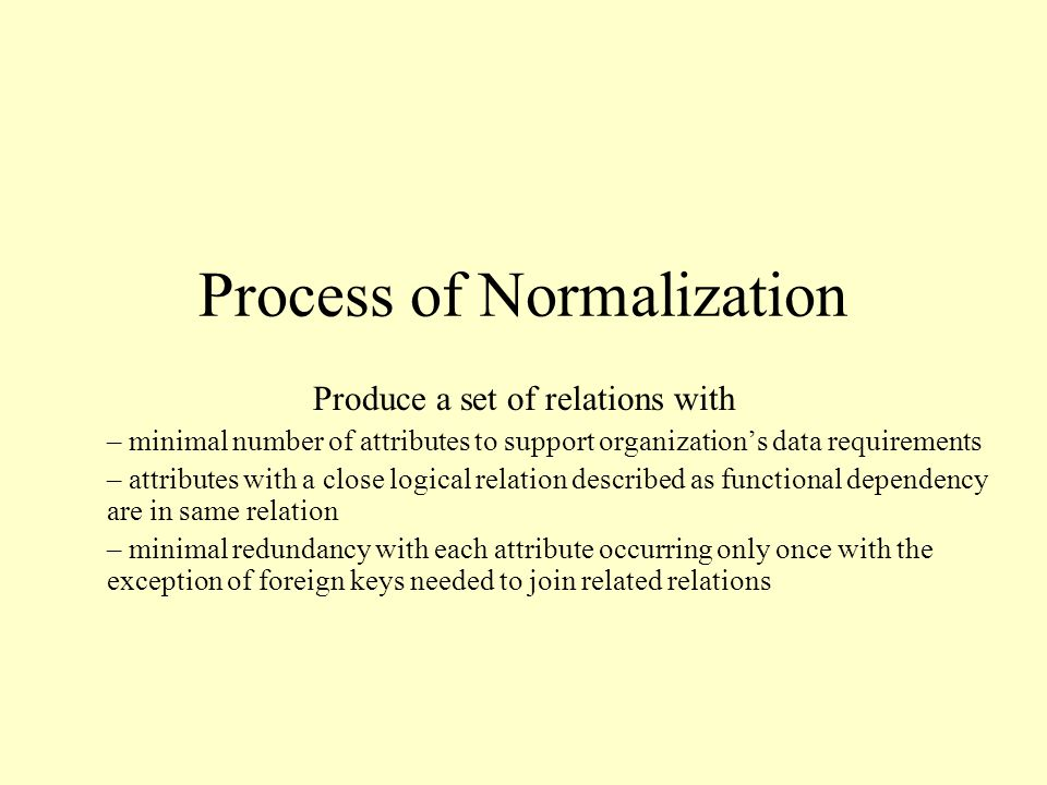 Process of Normalization Produce a set of relations with – minimal number of attributes to support organization's data requirements – attributes with