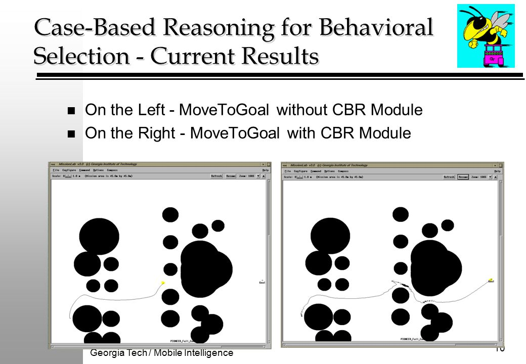Georgia Tech / Mobile Intelligence 10 Case-Based Reasoning for Behavioral Selection - Current Results n On the Left - MoveToGoal without CBR Module n On the Right - MoveToGoal with CBR Module