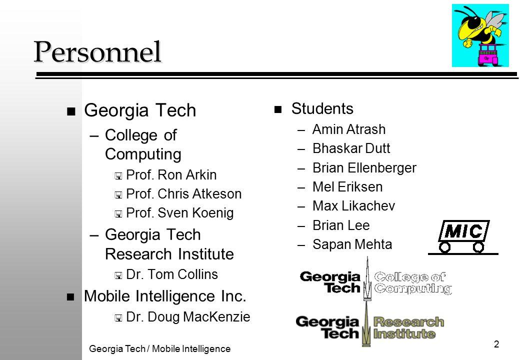 Georgia Tech / Mobile Intelligence 2 Personnel n Georgia Tech –College of Computing < Prof.