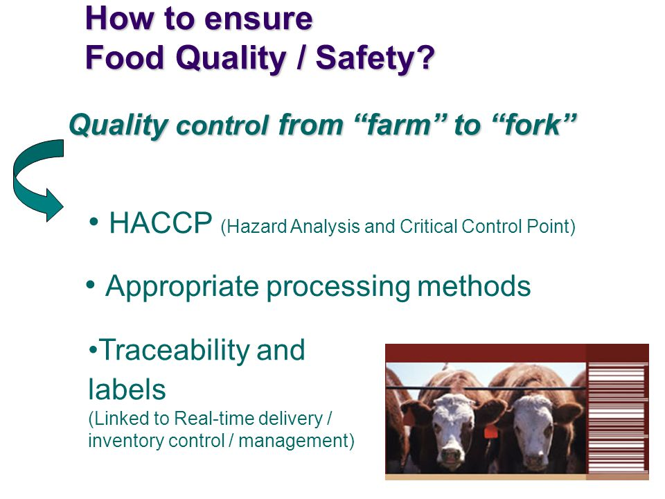 How to ensure Food Quality / Safety.