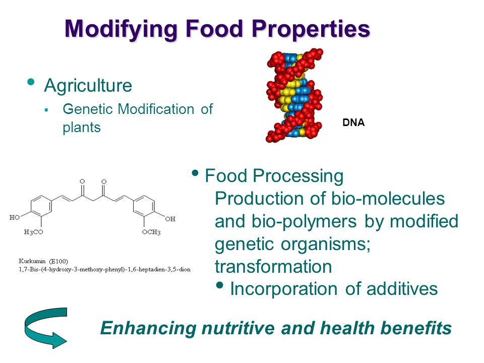 Modifying Food Properties Agriculture  Genetic Modification of plants Enhancing nutritive and health benefits Food Processing Production of bio-molecules and bio-polymers by modified genetic organisms; transformation Incorporation of additives DNA