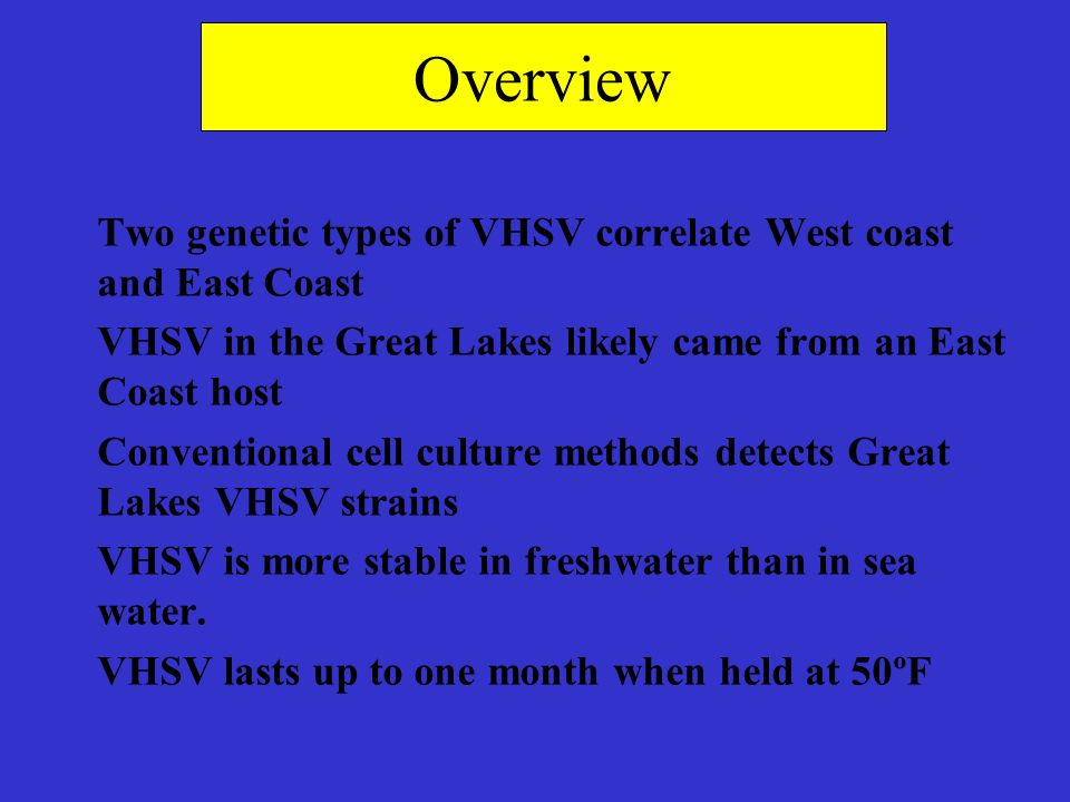 Overview Two genetic types of VHSV correlate West coast and East Coast VHSV in the Great Lakes likely came from an East Coast host Conventional cell c