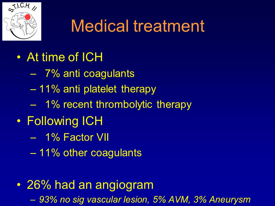 Medical treatment At time of ICH – 7% anti coagulants –11% anti platelet therapy – 1% recent thrombolytic therapy Following ICH – 1% Factor VII –11% o