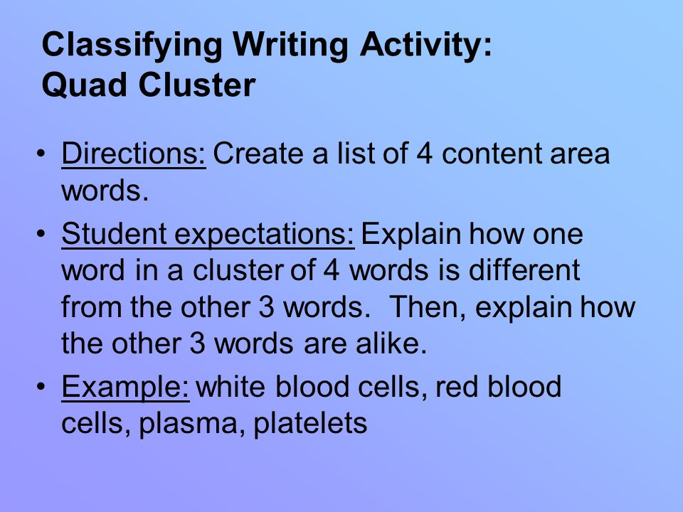 Classifying Writing Activity: Quad Cluster Directions: Create a list of 4 content area words.