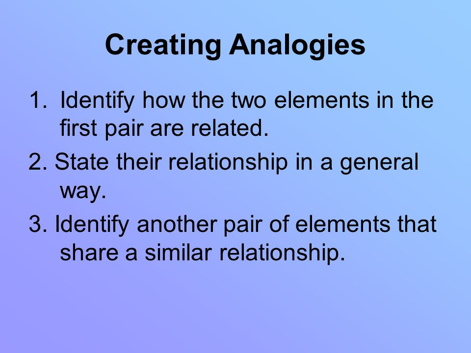 Creating Analogies 1.Identify how the two elements in the first pair are related.