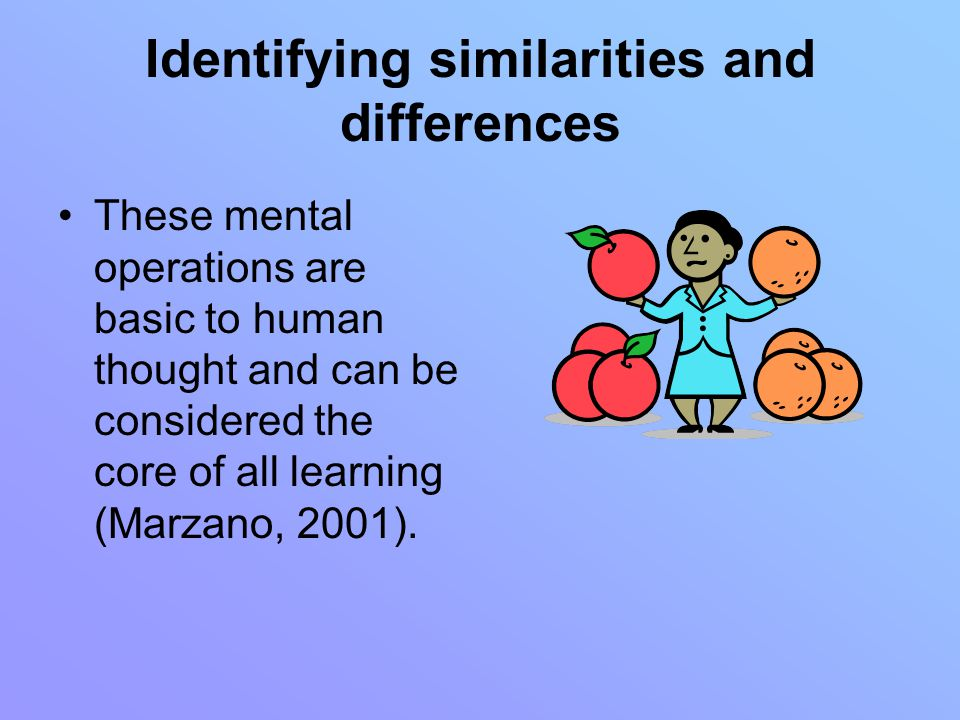 Identifying similarities and differences These mental operations are basic to human thought and can be considered the core of all learning (Marzano, 2001).