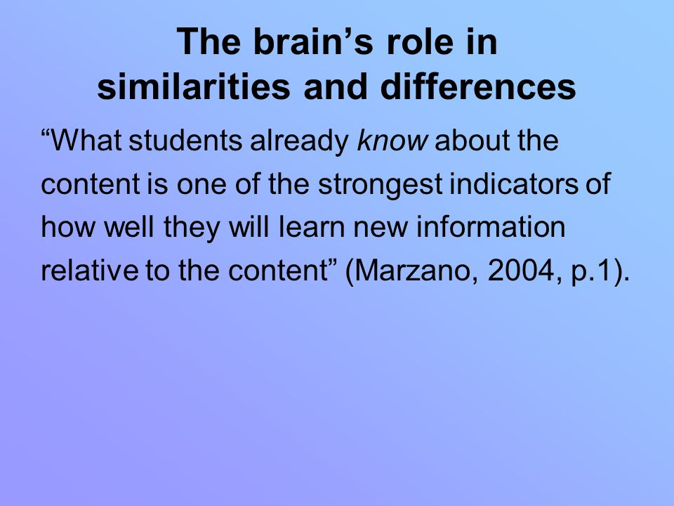 The brain's role in similarities and differences What students already know about the content is one of the strongest indicators of how well they will learn new information relative to the content (Marzano, 2004, p.1).