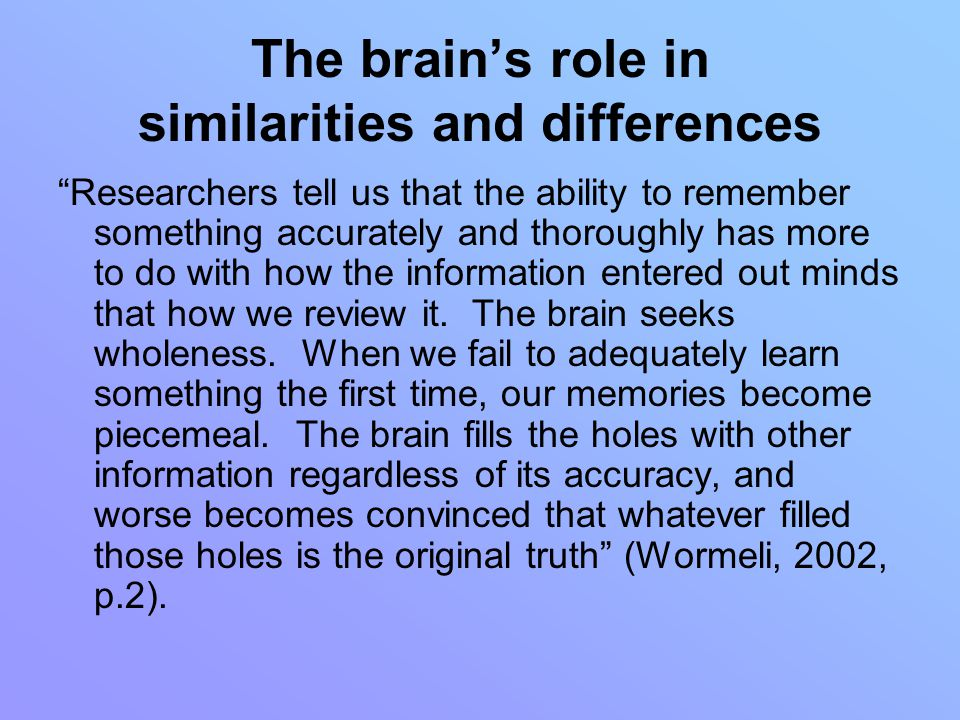 The brain's role in similarities and differences Researchers tell us that the ability to remember something accurately and thoroughly has more to do with how the information entered out minds that how we review it.