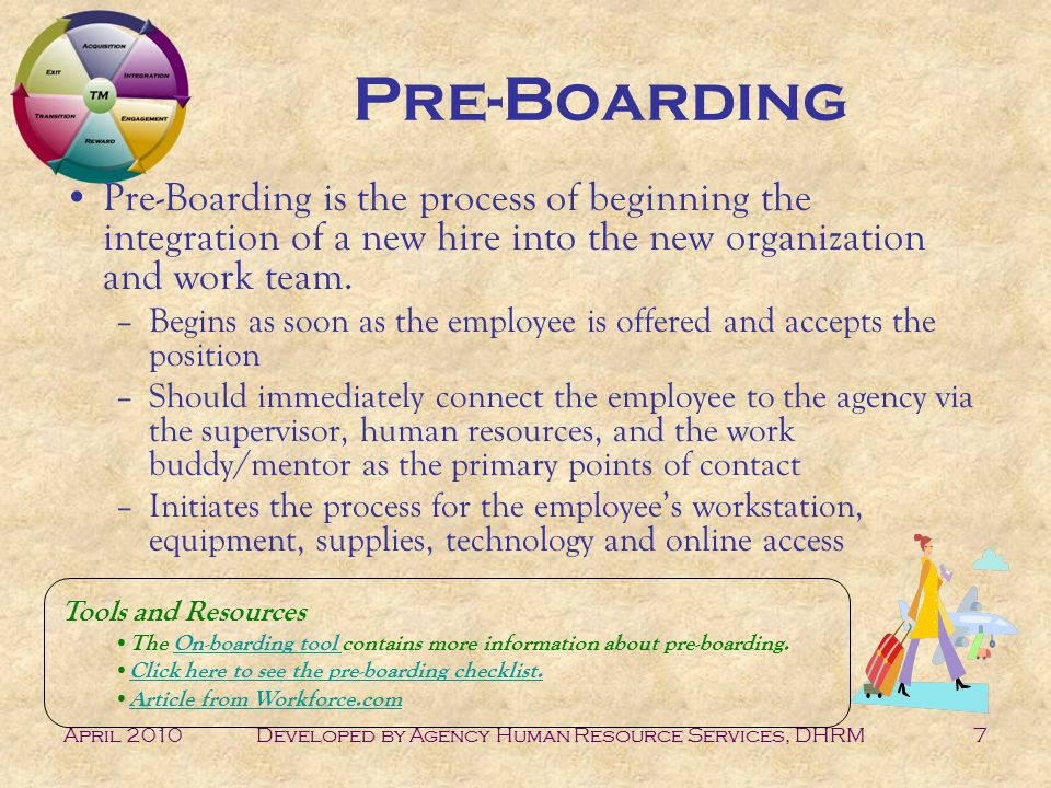 April 2010Developed by Agency Human Resource Services, DHRM7 Pre-Boarding Pre-Boarding is the process of beginning the integration of a new hire into the new organization and work team.