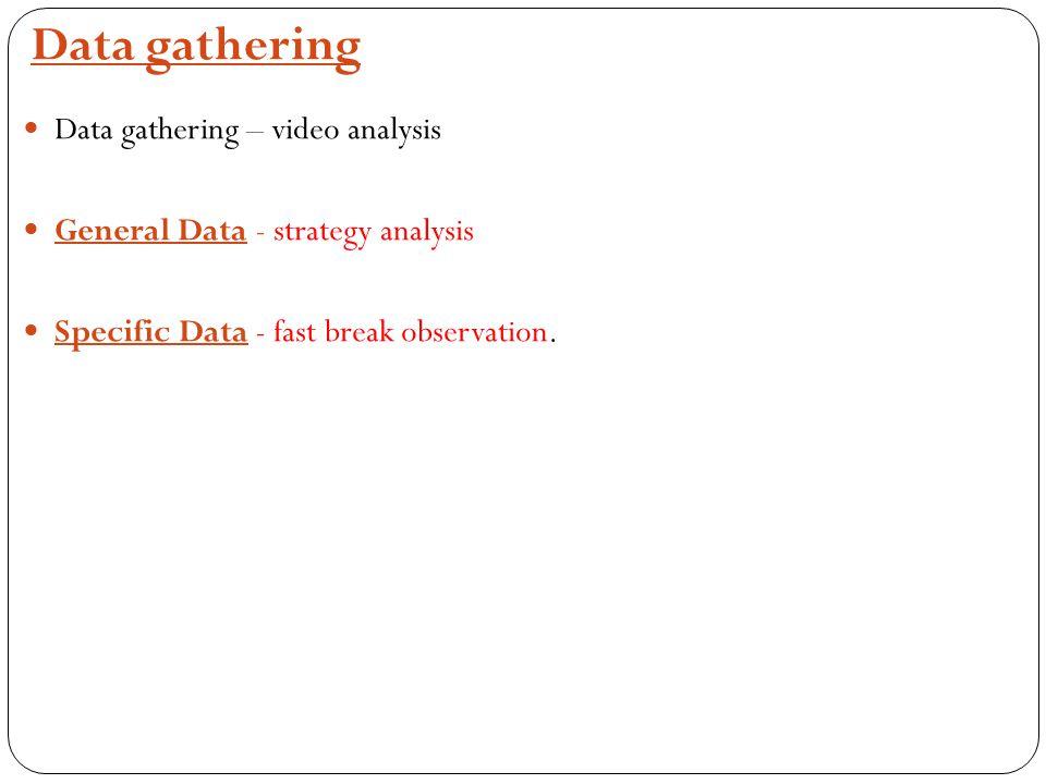 Data gathering Data gathering – video analysis General Data - strategy analysis Specific Data - fast break observation.