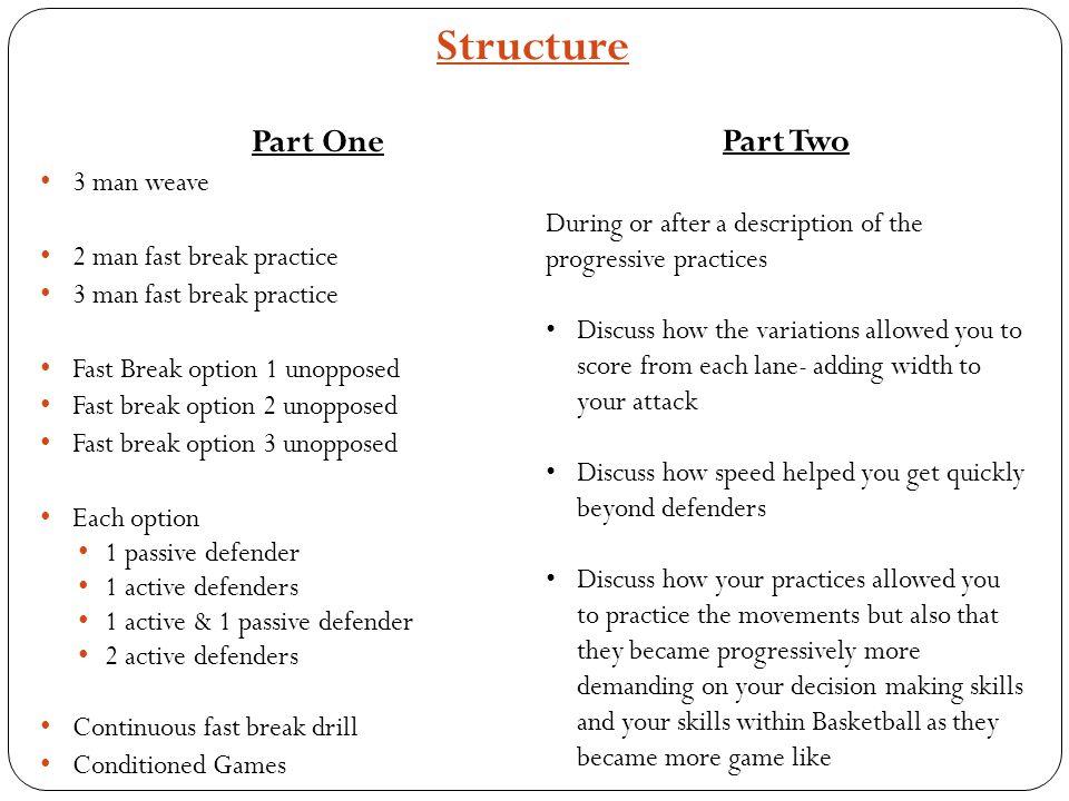 Structure Part One 3 man weave 2 man fast break practice 3 man fast break practice Fast Break option 1 unopposed Fast break option 2 unopposed Fast br