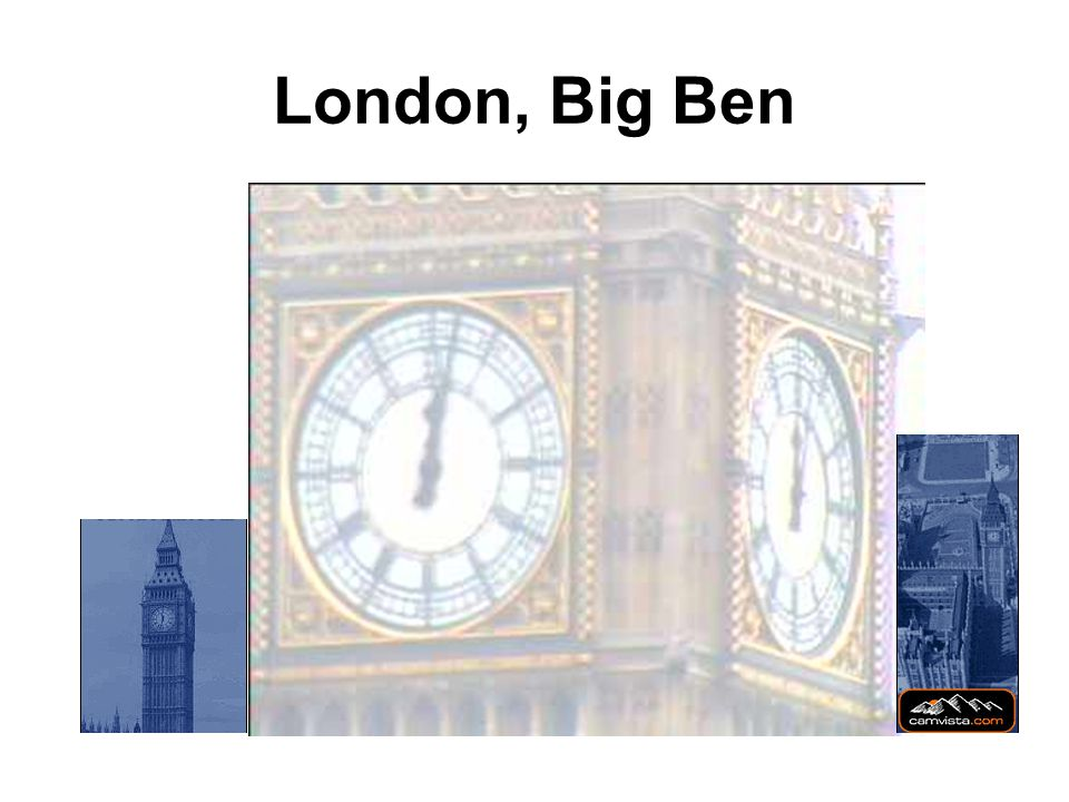 Big Ben is the great bell in the Clock Tower on the eastern end of the Houses of Parliament.
