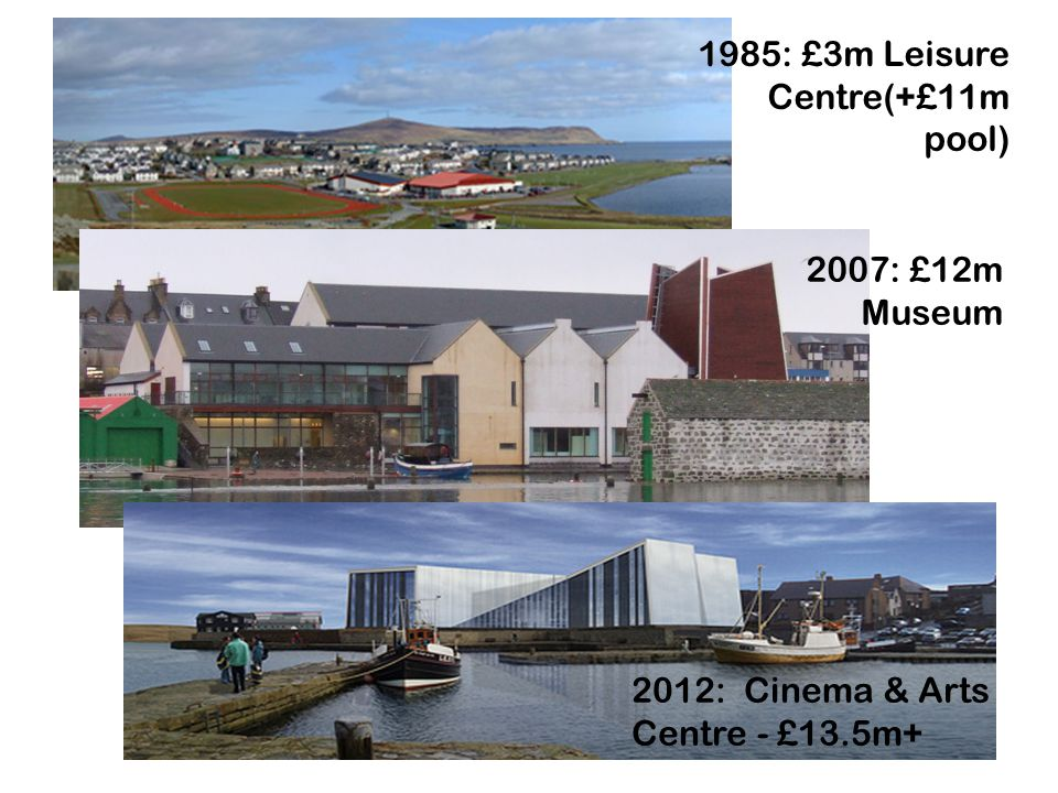 1985: £3m Leisure Centre(+£11m pool) 2007: £12m Museum 2012: Cinema & Arts Centre - £13.5m+