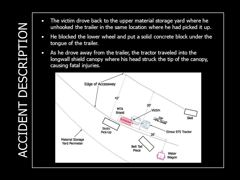ACCIDENT DESCRIPTION The victim drove back to the upper material storage yard where he unhooked the trailer in the same location where he had picked it up.