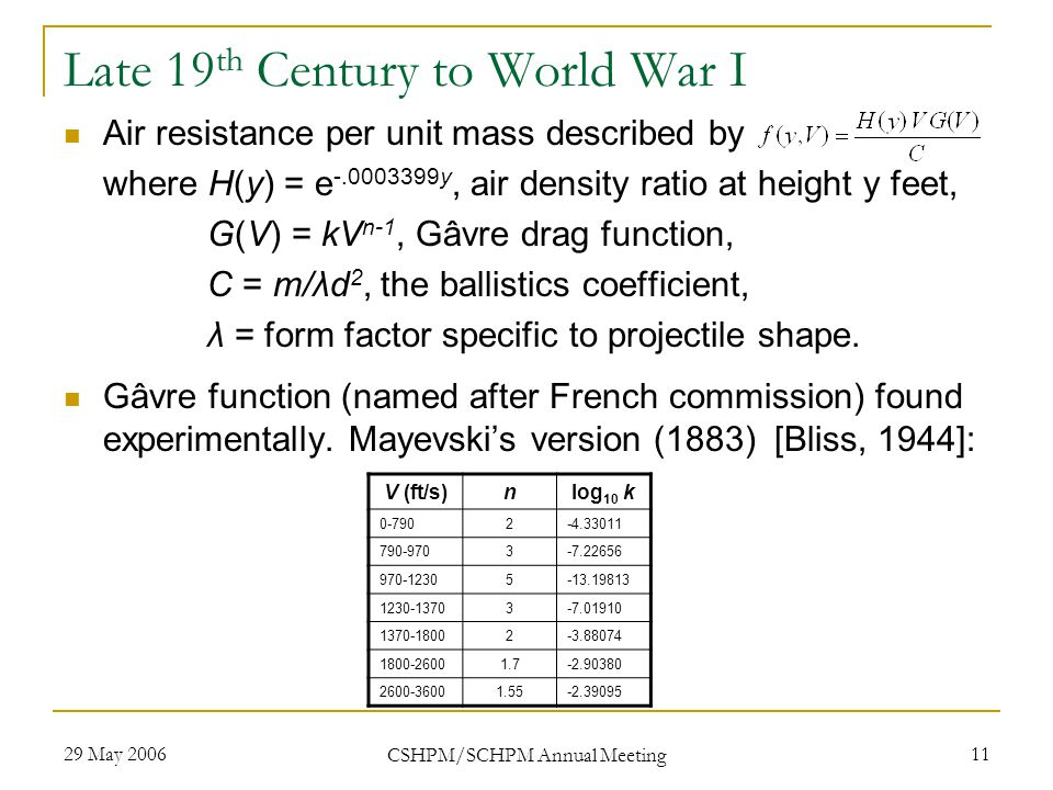 29 May 2006 CSHPM/SCHPM Annual Meeting 11 Late 19 th Century to World War I Air resistance per unit mass described by where H(y) = e -.0003399y, air density ratio at height y feet, G(V) = kV n-1, Gâvre drag function, C = m/λd 2, the ballistics coefficient, λ = form factor specific to projectile shape.