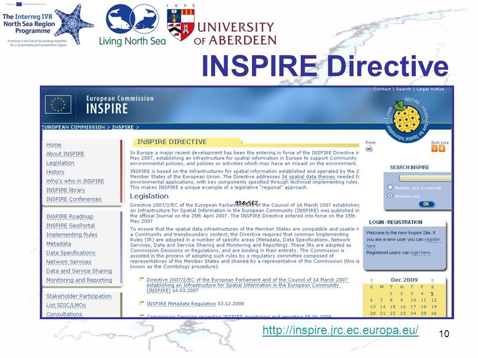 INSPIRE Directive 10 http://inspire.jrc.ec.europa.eu/
