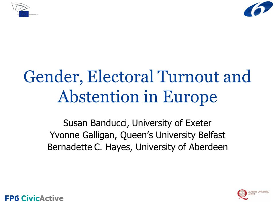FP6 CivicActive Focus European Parliament post-election survey, 2004 Gender differences in electoral turnout Gender differences in timing of decision to vote Do men and women differ in terms of their electoral turnout.