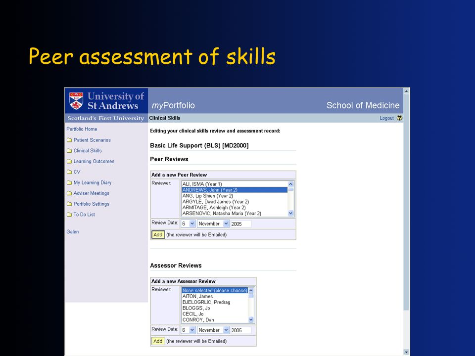 Peer assessment of skills
