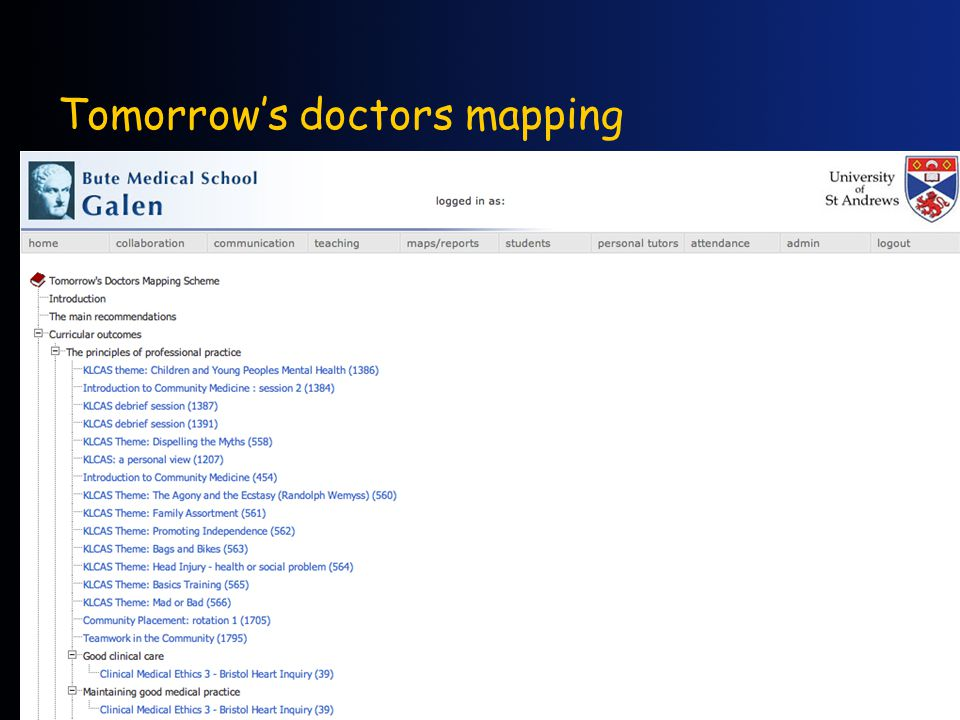 Tomorrow's doctors mapping