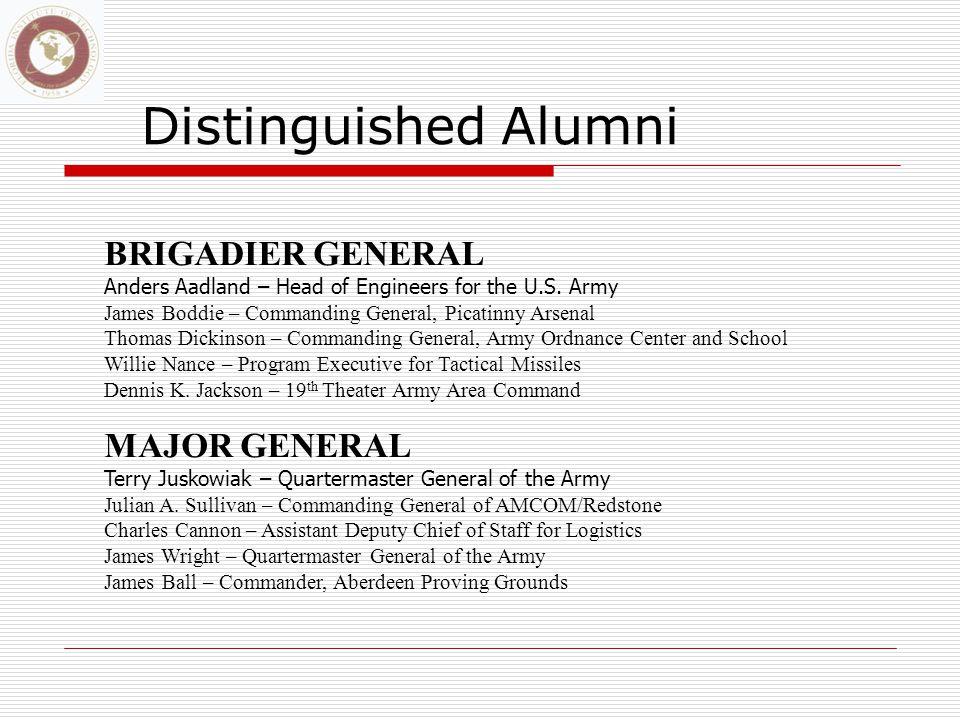 Distinguished Alumni BRIGADIER GENERAL Anders Aadland – Head of Engineers for the U.S.
