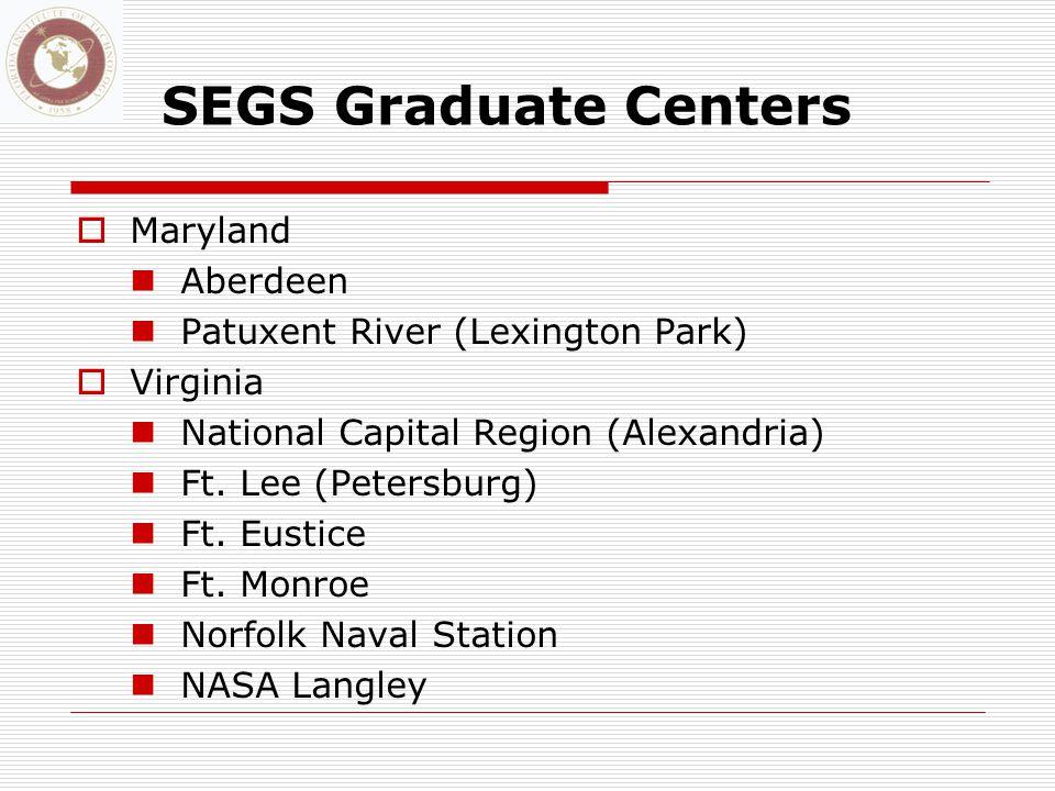 SEGS Graduate Centers  Maryland Aberdeen Patuxent River (Lexington Park)  Virginia National Capital Region (Alexandria) Ft.