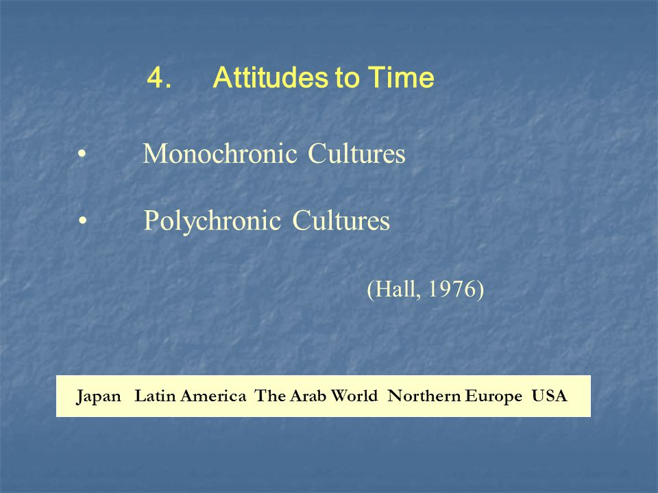 4.Attitudes to Time Polychronic Cultures (Hall, 1976) Monochronic Cultures Japan Latin America The Arab World Northern Europe USA