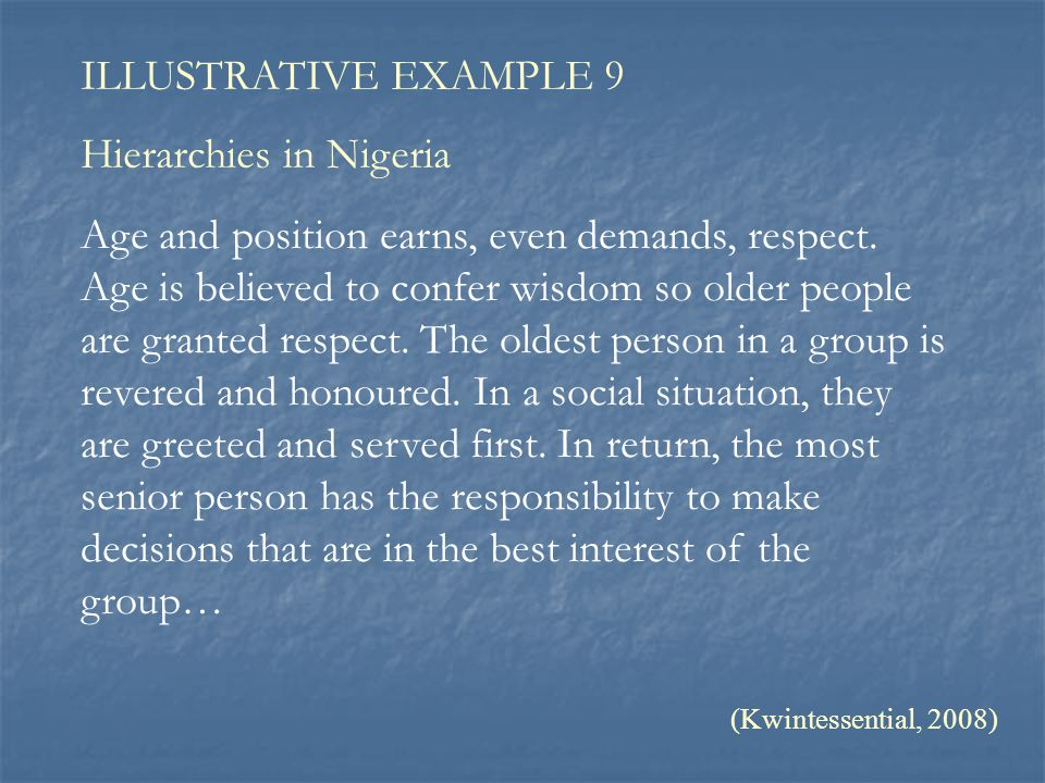 ILLUSTRATIVE EXAMPLE 9 Hierarchies in Nigeria Age and position earns, even demands, respect. Age is believed to confer wisdom so older people are gran