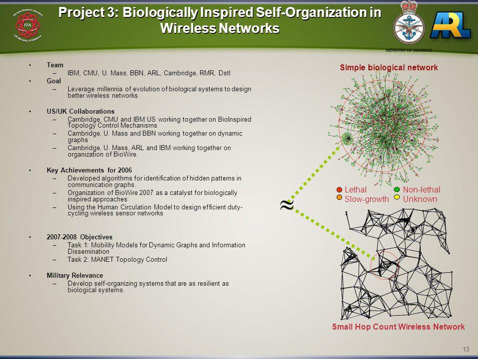 13 Project 3: Biologically Inspired Self-Organization in Wireless Networks Team –IBM, CMU, U. Mass, BBN, ARL, Cambridge, RMR, Dstl Goal –Leverage mill