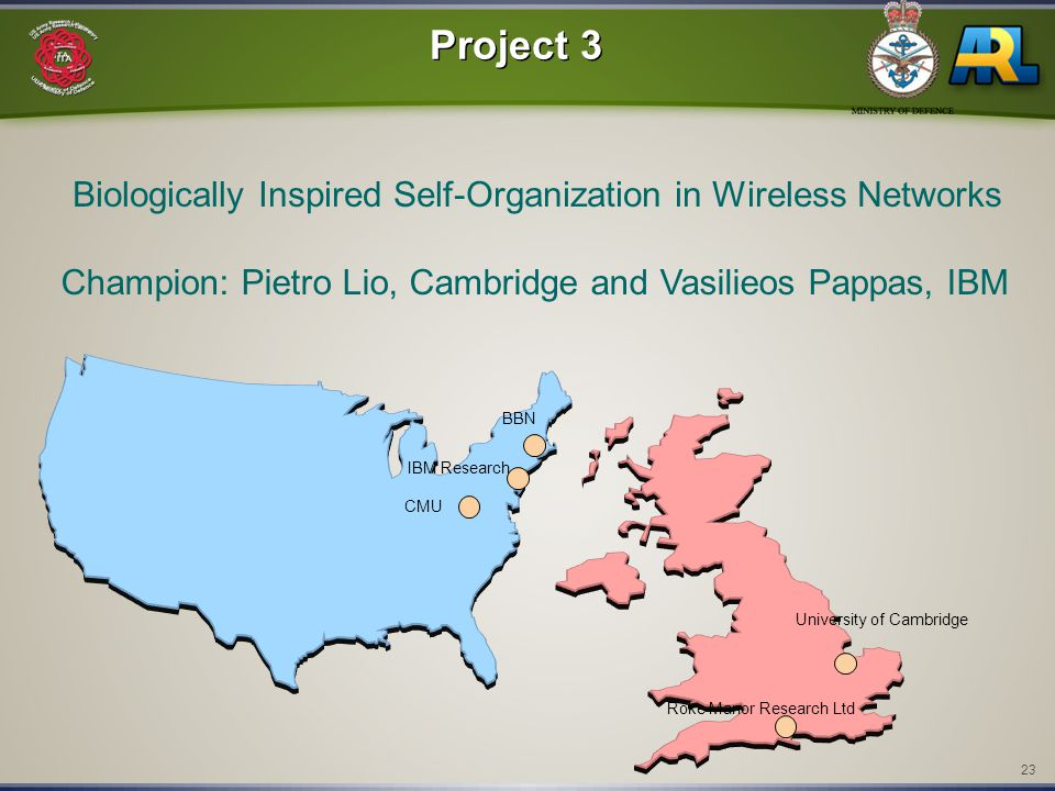 23 Project 3 Biologically Inspired Self-Organization in Wireless Networks Champion: Pietro Lio, Cambridge and Vasilieos Pappas, IBM CMU Roke Manor Research Ltd University of Cambridge IBM Research BBN