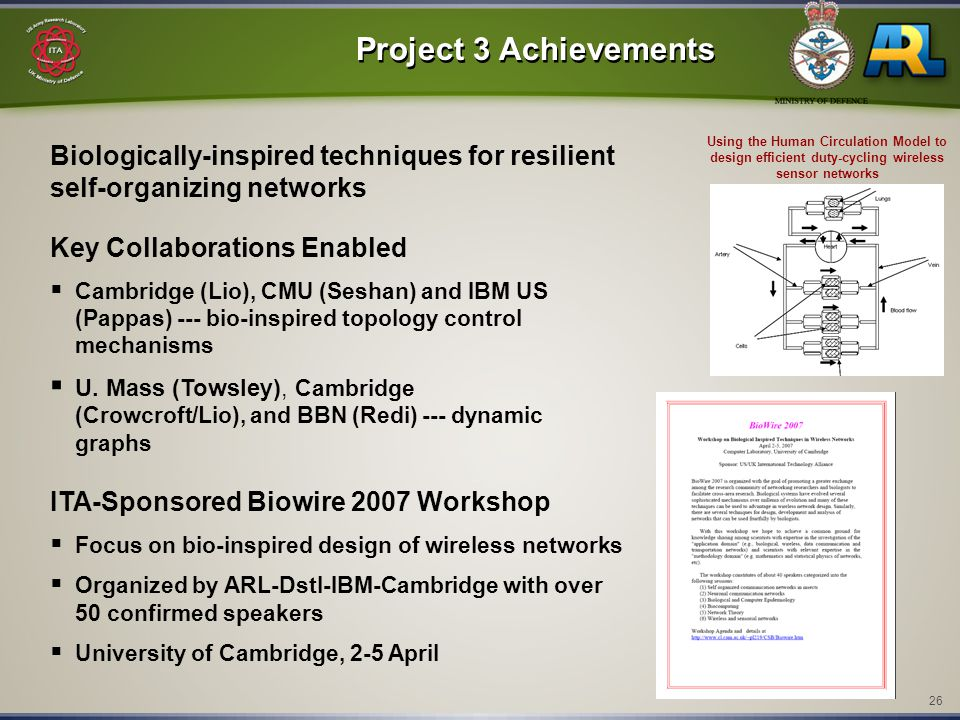 26 Project 3 Achievements Key Collaborations Enabled  Cambridge (Lio), CMU (Seshan) and IBM US (Pappas) --- bio-inspired topology control mechanisms