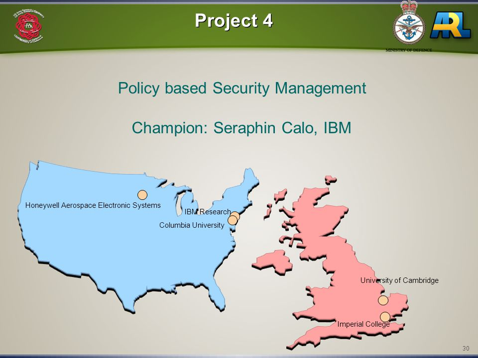 30 Columbia University Imperial College University of Cambridge Project 4 Policy based Security Management Champion: Seraphin Calo, IBM Honeywell Aerospace Electronic Systems IBM Research
