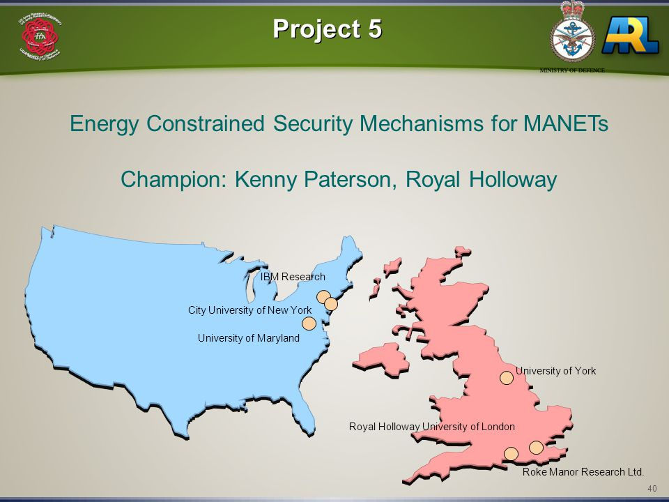 40 IBM Research City University of New York Roke Manor Research Ltd. Royal Holloway University of London Project 5 Energy Constrained Security Mechani
