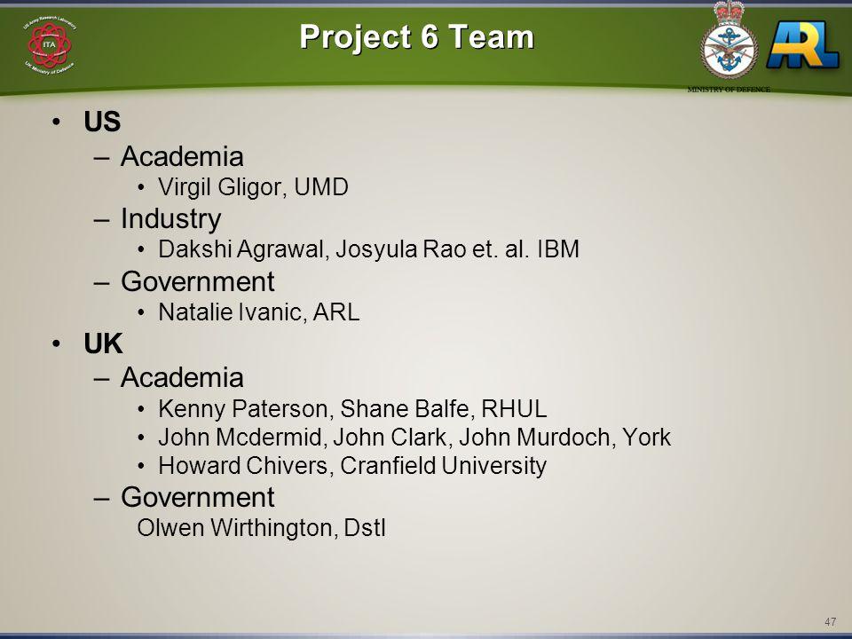 47 Project 6 Team US –Academia Virgil Gligor, UMD –Industry Dakshi Agrawal, Josyula Rao et. al. IBM –Government Natalie Ivanic, ARL UK –Academia Kenny