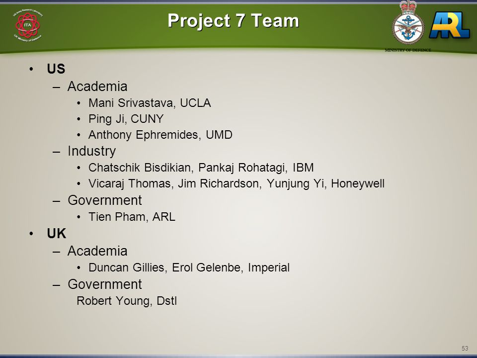 53 Project 7 Team US –Academia Mani Srivastava, UCLA Ping Ji, CUNY Anthony Ephremides, UMD –Industry Chatschik Bisdikian, Pankaj Rohatagi, IBM Vicaraj Thomas, Jim Richardson, Yunjung Yi, Honeywell –Government Tien Pham, ARL UK –Academia Duncan Gillies, Erol Gelenbe, Imperial –Government Robert Young, Dstl